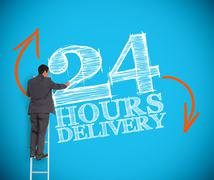 Businessman writing 24 hours delivery - stock photo