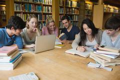 Stock Photo of Students learning in a library