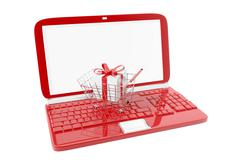 Shopping cart and red laptop - stock illustration