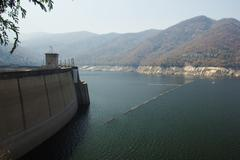 The bhumibol dam in thailand. the dam is situated on the ping Stock Photos