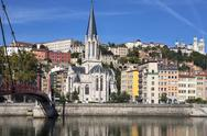 Stock Photo of view of lyon city with red footbridge