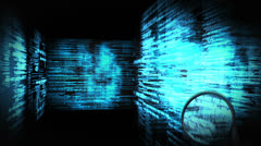 Montage of a screen showing binary code and magnifying glass Stock Footage