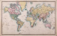 Old world map on mercators projection Stock Photos