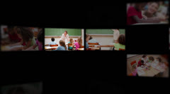Montage of pupils with teacher - stock footage