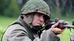 Soldier Aiming AK 47 - Focus Change - 01 Stock Footage