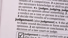 Judgement highlighted in green - stock footage