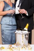couple touching glasses for a champagne toast - stock photo