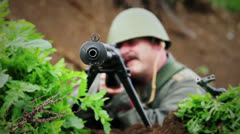 Soldier Aiming PTRS - Focus Change Close 01 Stock Footage