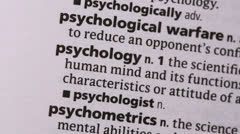 Psychology highlighted in green - stock footage
