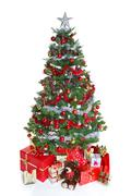Decorated christmas tree isolated. Stock Photos