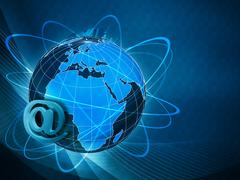 Global internet communications, abstract techno backgrounds Stock Photos