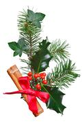 christmas decoration with holly cinnamon and red bow. - stock photo
