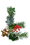 christmas decoration with holly and gold bow - stock photo