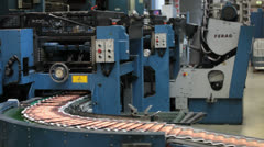 Printing newspaper machines in factory Stock Footage