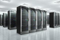Network servers in datacenter Stock Photos