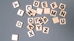 Stock Video Footage of Plastic letters bouncing and showing the alphabet