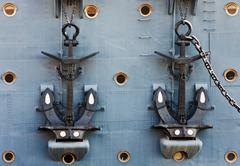 anchors of cruiser aurora - stock photo