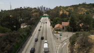 Commuters on the 110 freeway toward downtown Los Angeles Stock Footage