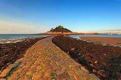 st michaels mount cobbled causeway - stock photo