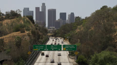 Traffic on the 110 freeway near Los Angeles Stock Footage