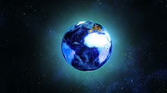 Globe earth rotating in space Stock Footage