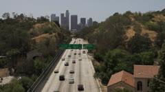 110 Freeway leading toward downtown Los Angeles Stock Footage
