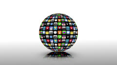 Application icons spinning in a black sphere Stock Footage