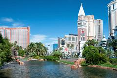 Treasure island and venetian casino hotel resort on the las vegas strip Stock Photos