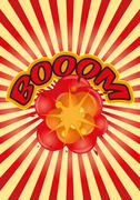 boom sunburst - stock illustration