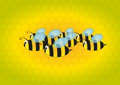 bees with beehive - stock illustration