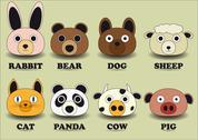 Set animal face Stock Illustration