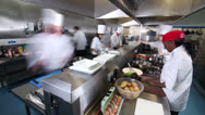 Stock Video Footage of Time lapse of busy team of chefs preparing food in a commercial kitchen