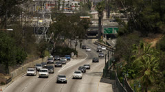 Traffic merging onto the 110 freeway Stock Footage