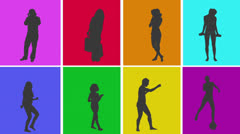 Animation of silhouettes of various people in colourful grid Stock Footage