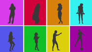 Stock Video Footage of Animation of silhouettes of various people in colourful grid