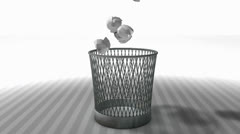 Trash bin animation with matte. Stock Footage