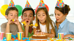 Family celebrating their daughter birthday - stock footage