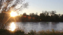 View of a river at sunset Stock Footage