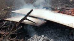 Burning plywood - slow motion (4) Stock Footage