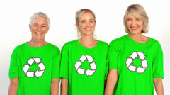 Three enviromental activists giving thumbs up - stock footage