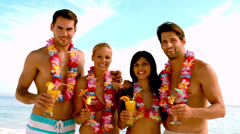 Friends wearing garlands and enjoying cocktails on the beach Stock Footage