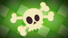 Stock Video Footage of Cartoon Skull & Crossbones 4K Ultra HD