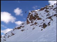 Snowboarder Breaks Leg on Jump! Stock Footage
