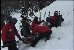 Skier Rescued After Being Knocked Unconscious Clip 2 - stock footage