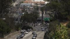 Slow motion traffic merging on freeway - stock footage
