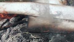 Burning plywood - slow motion (5) Stock Footage