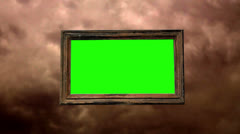 Picture frame clouds green screen time lapse abstract art artistry design fun Stock Footage