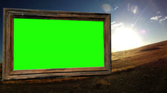Picture frame sun rise green screen time lapse abstract art artistry design fun Stock Footage