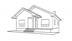 Drawing of a house Stock Footage