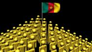 Zooming out from pyramid of men with rippling Cameroon flag animation Stock Footage